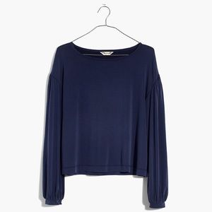 Madewell Sandwashed Gathered-Sleeve Top